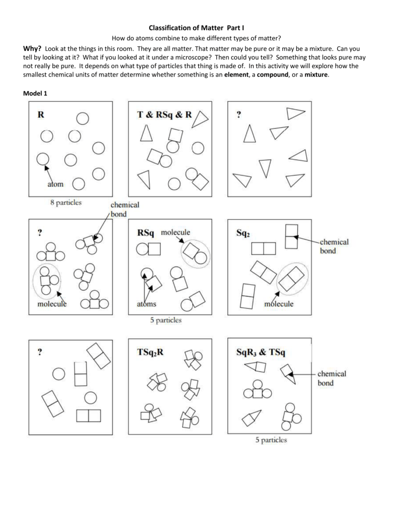 Classification Of Matter Worksheet Chemistry