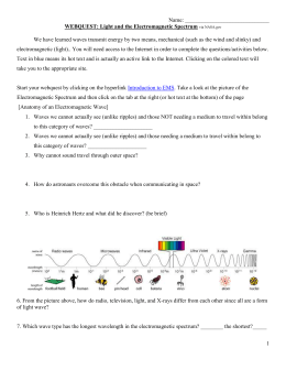 WEBQUEST: Light and the Electromagnetic Spectrum
