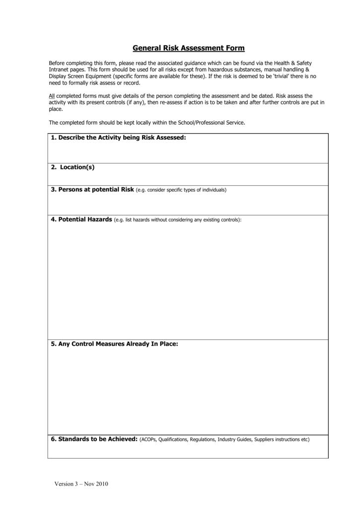 General Risk Assessment Form