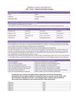 Image Skincare Peel Consent Form