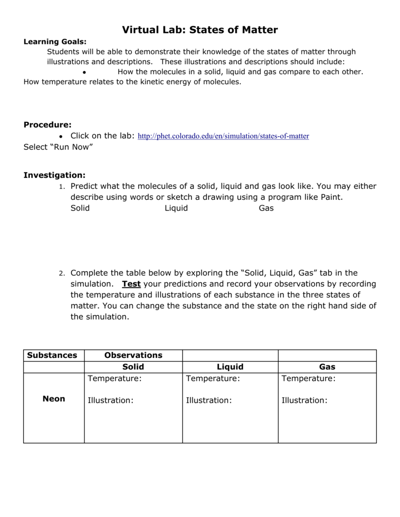 worksheet Three States Of Matter Worksheet virtual lab states of matter handout