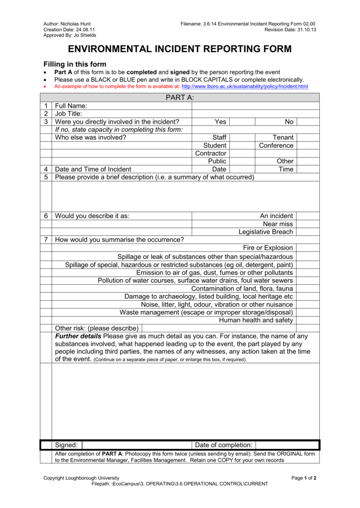 environmental incident reporting form