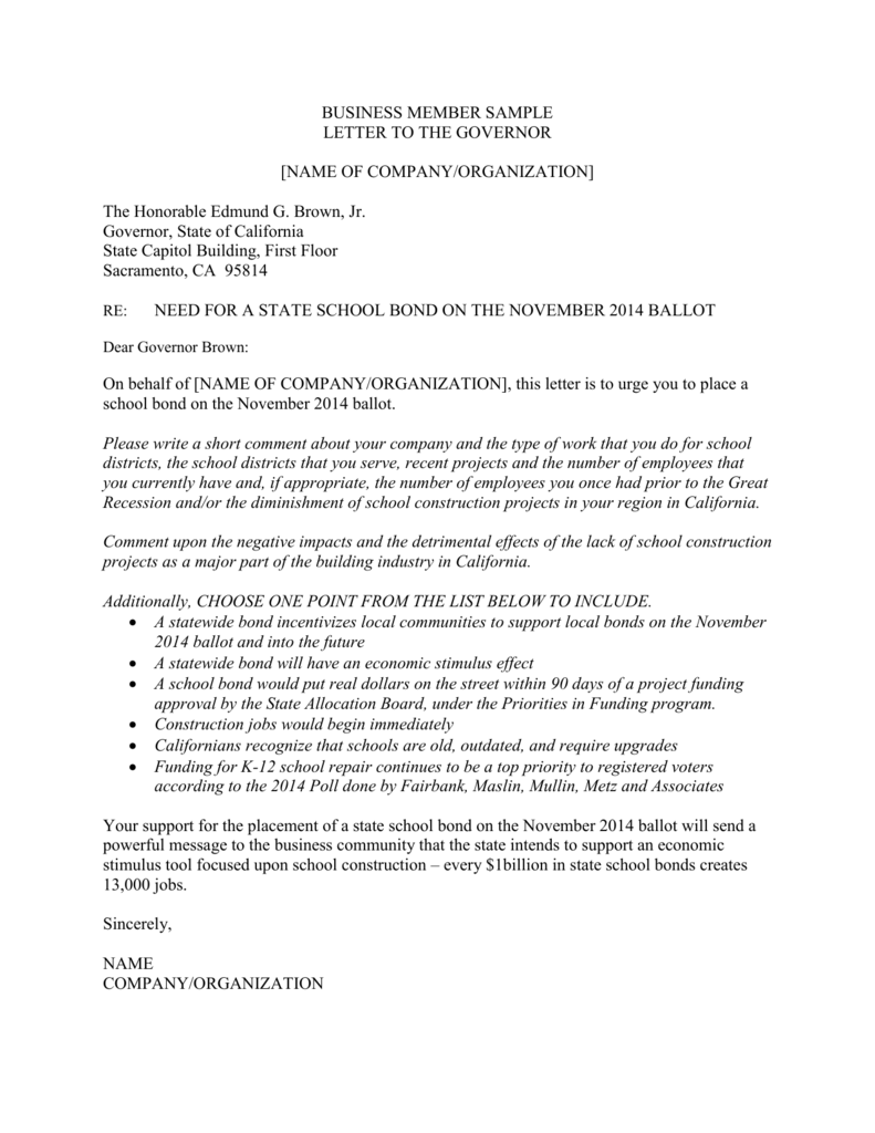 Associate Letter to the Governor Template