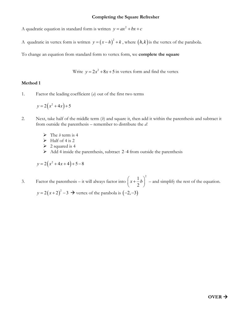 Completing the square refresher a quadratic equation in standard falaconquin