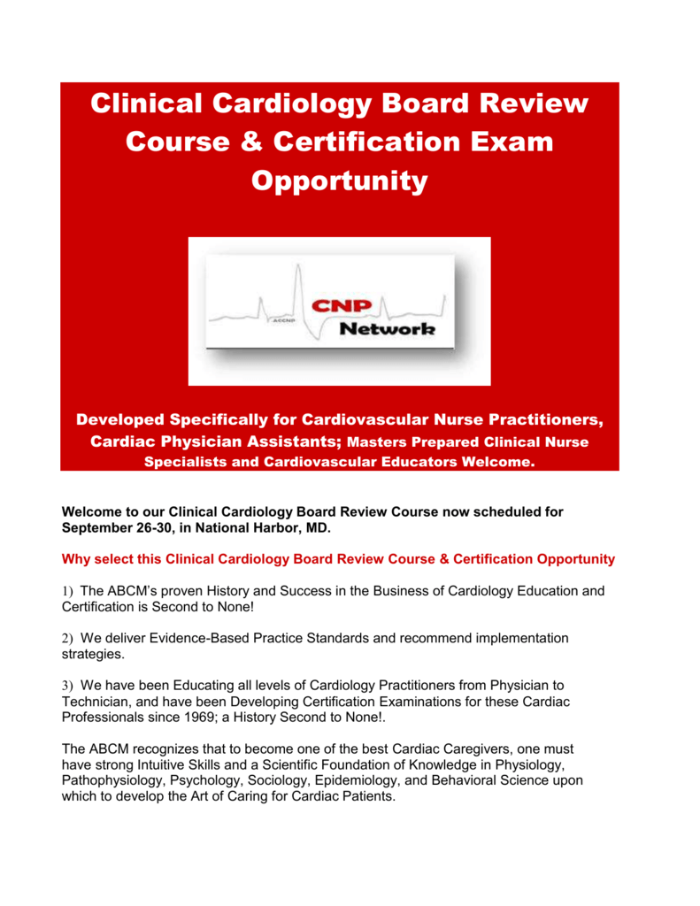 Clinical Cardiology Board Review Course Certification Exam