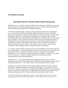 2014-2015 David A. Winston Policy Fellows Announced
