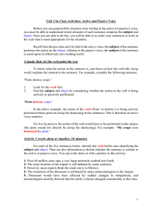 Unit 2: Active and passive voice * in-class activities