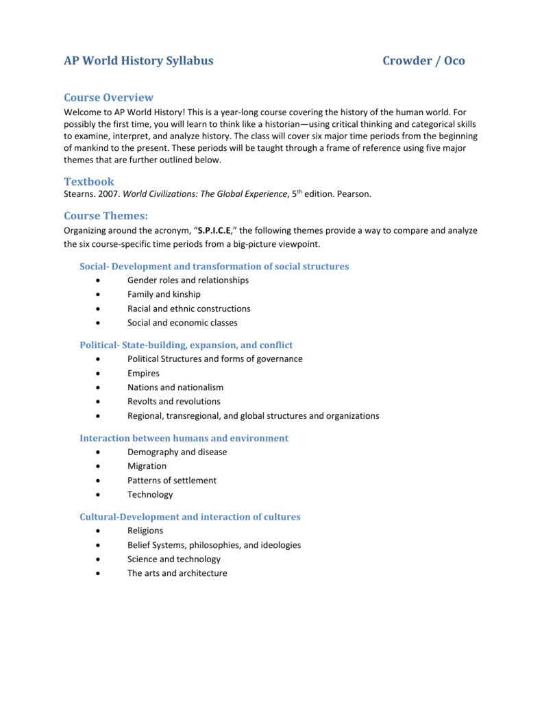 ap world syllabus Ap world history– syllabus though the apwh teachers are available at all times for help  advanced placement world history is a college-level survey course it.