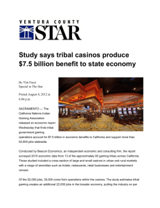 Study Says Tribal Casinos Boost California Economy
