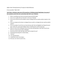 Higher Order Thinking Questions/ Prompts for Math Reflections