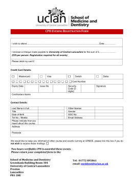 CPD Evening Registration Form - University of Central Lancashire