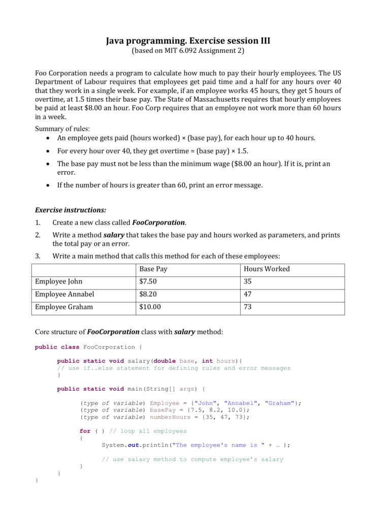 Java programming  Exercise session III