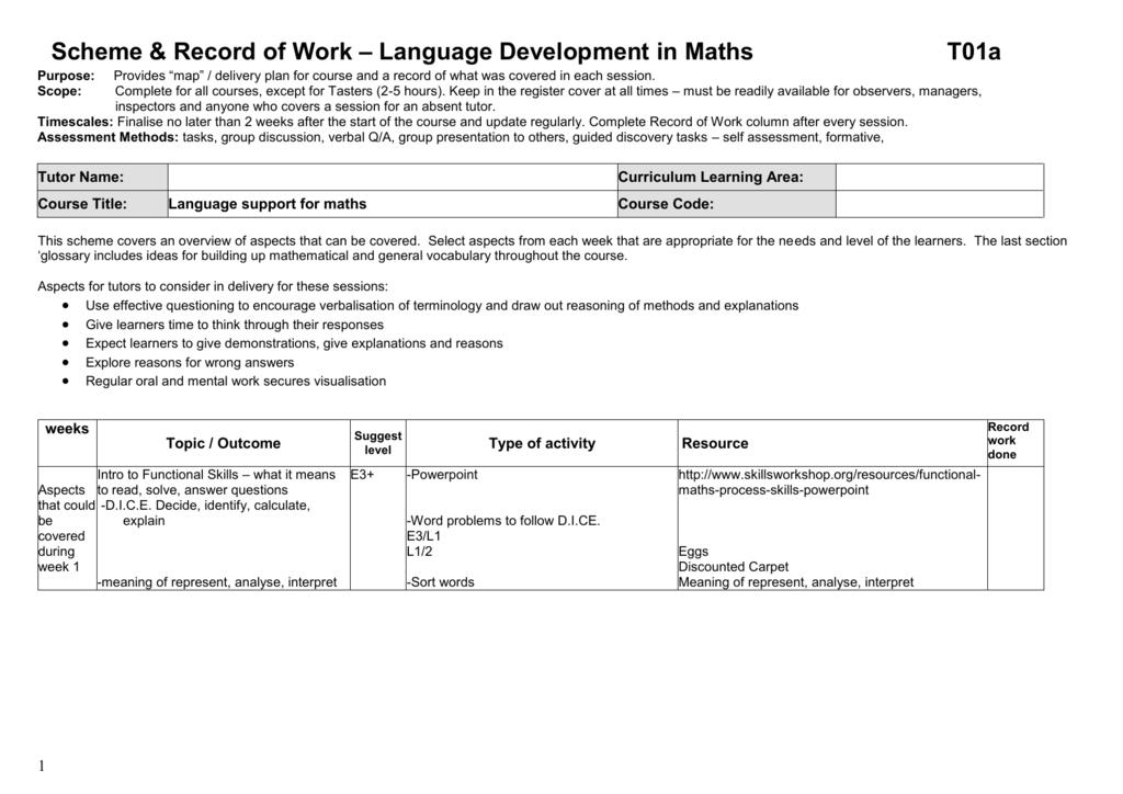 Scheme Record Of Work Language Development In Maths T01a