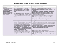 Institutional Student Outcomes and General Education Goals