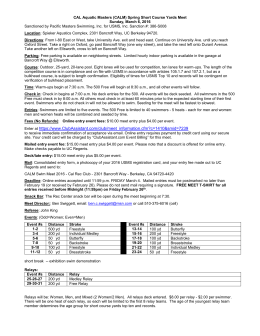 Strawberry Canyon Aquatic Masters Meet Information