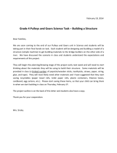 Grade 4 Pulleys and Gears Science Task – Building a Structure