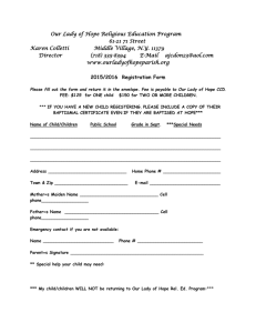 Registration Form for Religious Ed