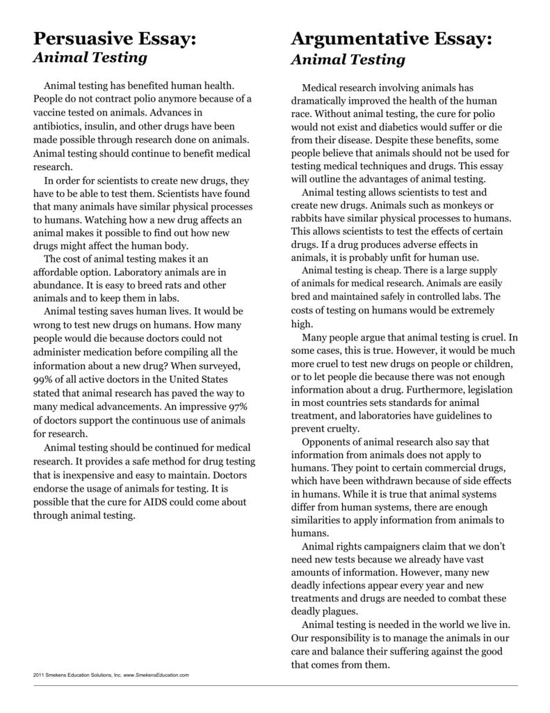 good persuasive essays on animal experimentation