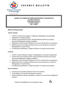 Junior Lecturer Lecturer RADIOGRAPHY DIAGNOSTIC