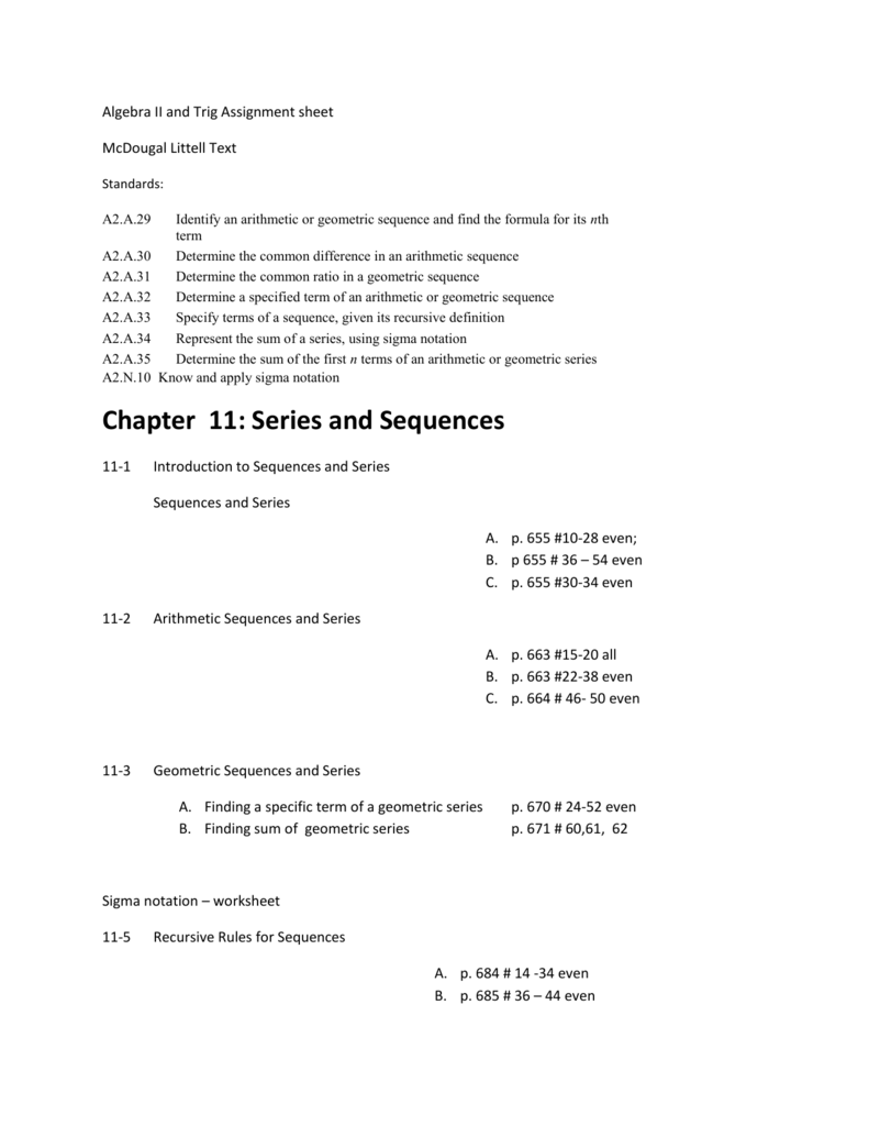 worksheet Sigma Notation Worksheet chapter 11 series and sequences