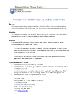 Graduate School Alumni Society (GSAS) Early Career Award