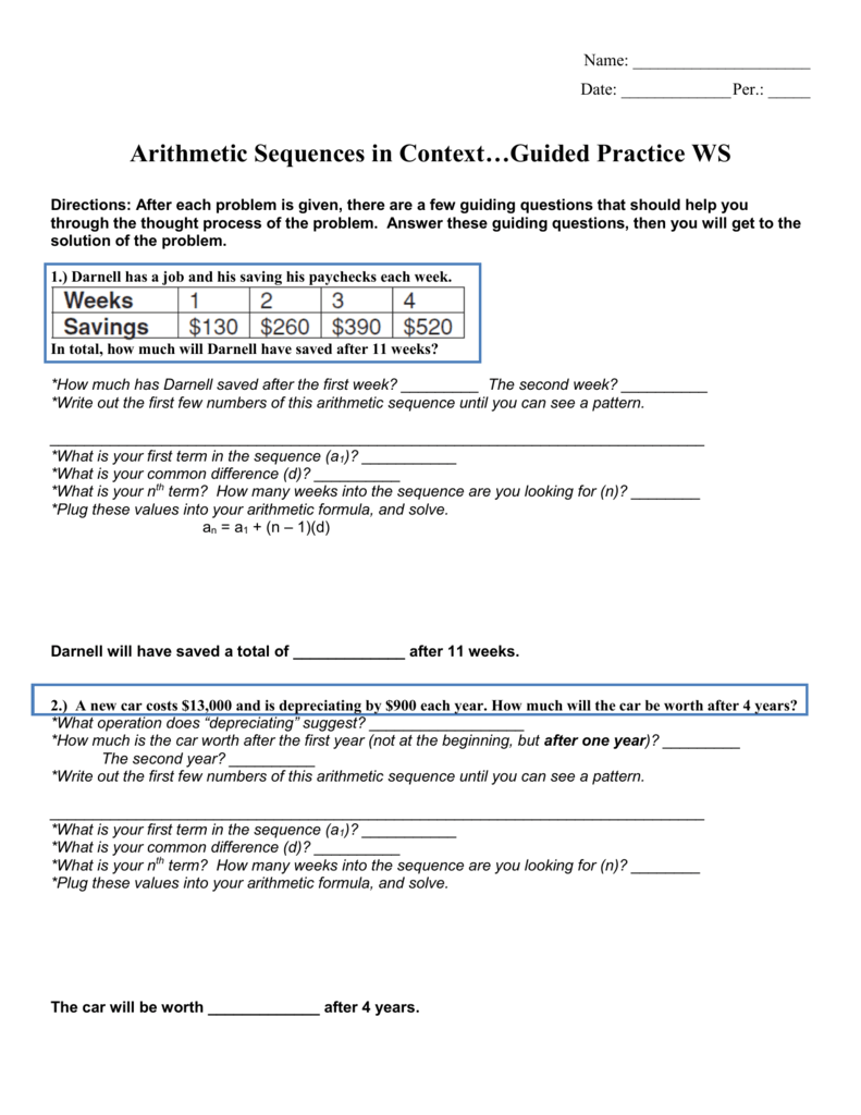 Arithmetic sequences in contextguided practice ws robcynllc Image collections