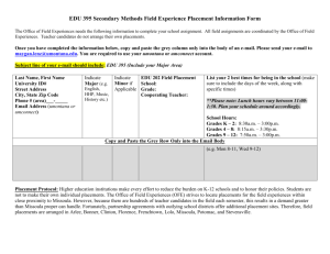 EDU 395 Field Placement Information Form