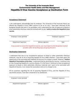 HEPATITIS B VACCINE CONSENT / DECLIATION FORM