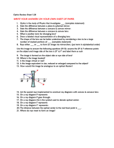 HW Optics Review Sheet 1-28 TITD 1-29