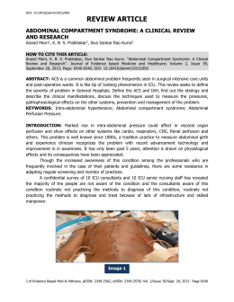 abdominal compartment syndrome: a clinical review and research