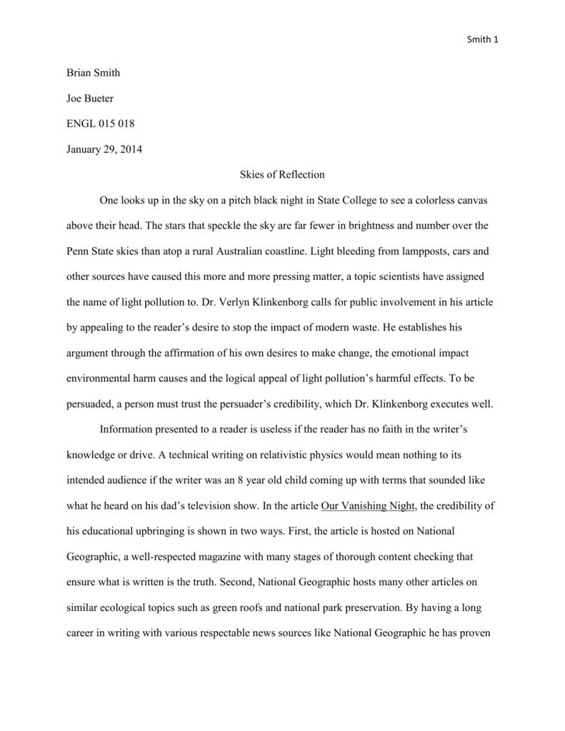 Smith-Essay 1 Rhetorical Analysis-Rough Draft