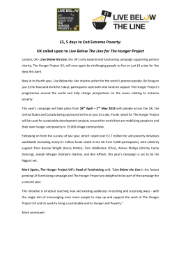 Press Release - The Hunger Project UK