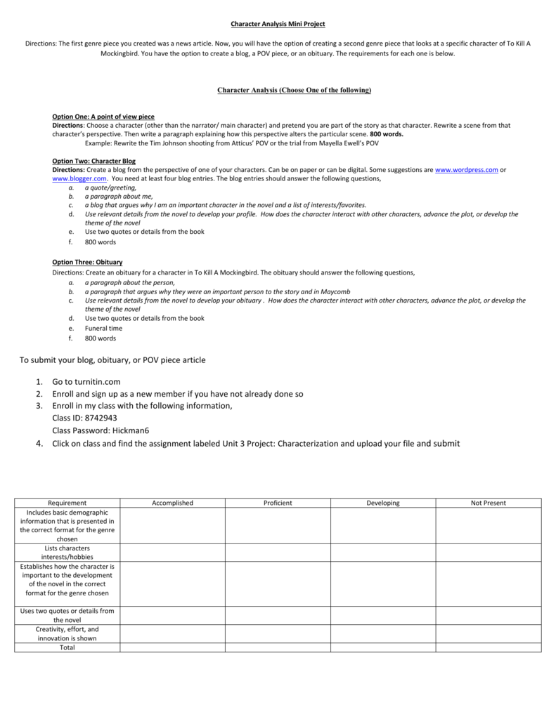 character analysis format