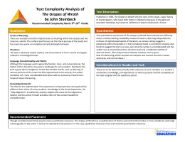 Text Description Text Complexity Analysis of The Grapes of Wrath by