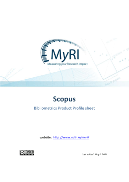 product profile SCOPUS