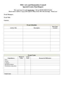 MSU AHC Special Events Grant Final Report Form