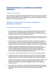 Leadership in educational institutions