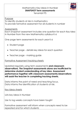 Maths SNAPSHOT Key idea term assessments info