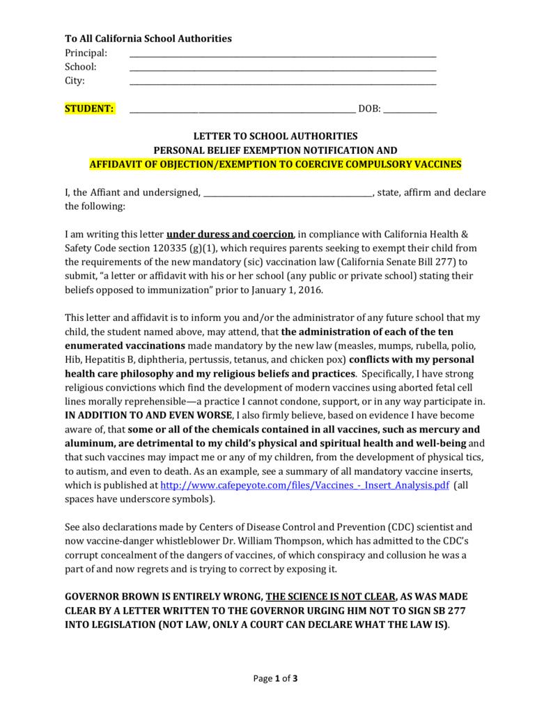 SB 277 Exemption Letter/Affidavit - Template