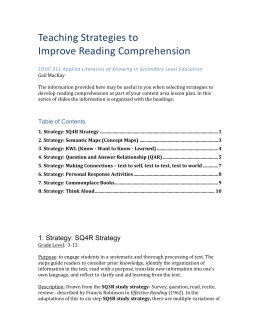 Week 8 Teaching Strategies to improve Reading