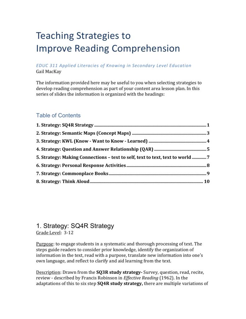 - Week 8 Teaching Strategies To Improve Reading