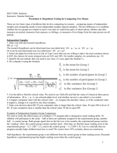 Worksheet 6: Hypothesis Testing for Means of Two Samples