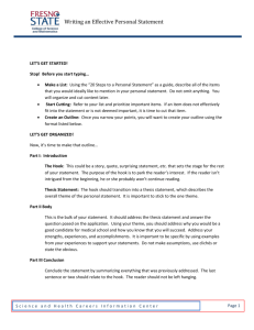 Writing an Effective Personal Statement