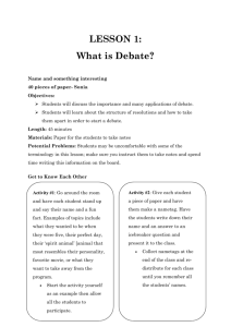 LESSON 1 - Youth for Debate