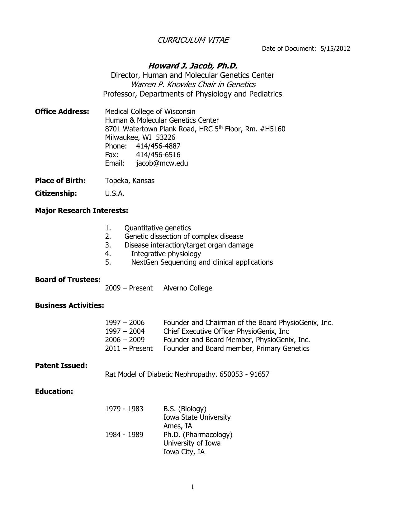 CURRICULUM VITAE - MCW - Department of Physiology