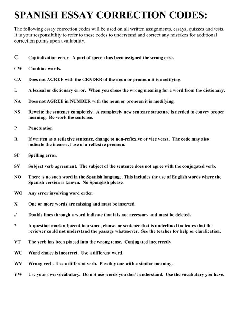 Spanish Ii Essay Correction Code
