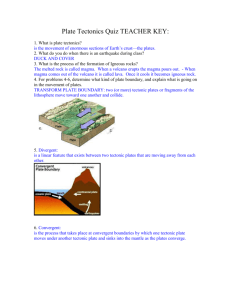 Plate Tectonics Quiz TEACHER KEY: