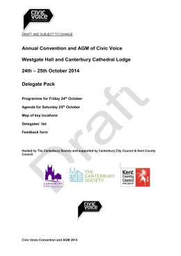 Welcome to the first Convention and AGM of Civic Voice