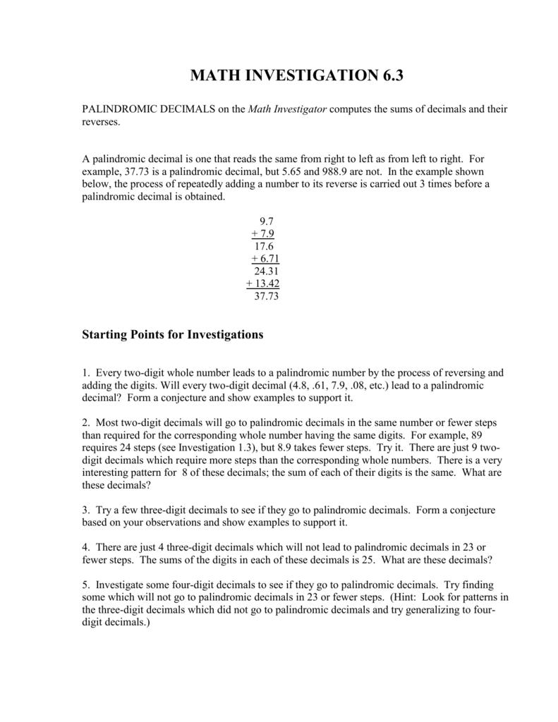 palindromic decimals instructions
