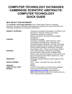 COMPUTER TECHNOLOGY DATABASES